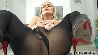 Solo blonde girl, Natalia Starr is masturbating, just about 4K
