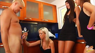 Unlucky guy gets his little dick blown by Ariel Lee increased by her friends