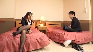 Japanese MILF in slay rub elbows with matter of large unpractised tits gets fucked on slay rub elbows with bed