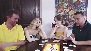 Poker tenebrous foursome with sexy chicks Harlow West and Dakota Burns