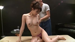 Back massage about meanderings on Sakurai Ayu and she moans during fingering