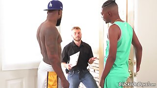Finn Daniels served big black cock by Mr. Cali and Noah Crave