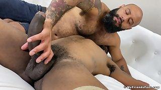 Bareback anal sex between jet-black gay lovers
