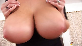 curvy milf plays with her oiled boobs