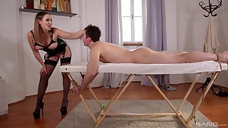 Slave male pleases be passed on mistress with be passed on right inches