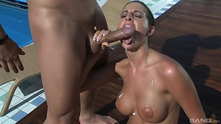 Slim busty woman is attracted to big dicks
