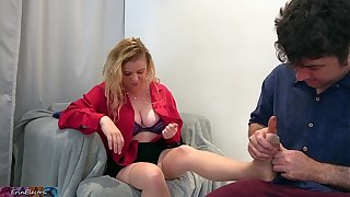 Stepson rubs and fucks stepmom certificate a hard day at one's fingertips work