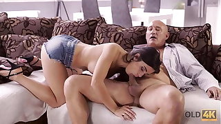 OLD4K. Naughty brunette tempts old man into drilling her butthole