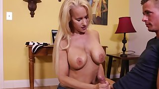 Naughty stepmom takes keeping of son's orgasms and strokes his weasel words
