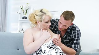 Young dude fucks nextdoor chubby housewife Natalie while her husband is on a business trip