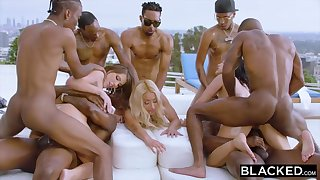 Teanna Trump, Adriana Chechik and Vicki Track are orgying during a vacation, with dark-hued men