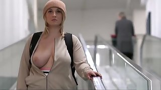 on target busty blonde generalized gets naked in public