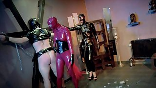 Latex fantasy for eradicate affect nude women and their male slave