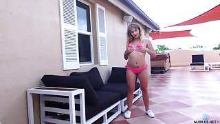 Playful teen Anna Mae is toying pussy with favorite sex toy